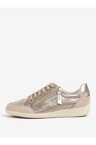 Pantofi sport bej din piele cu aspect metalic pentru femei Geox Myria