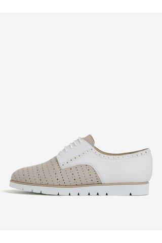 Pantofi bej&alb din piele naturala pentru femei - Geox Kookean
