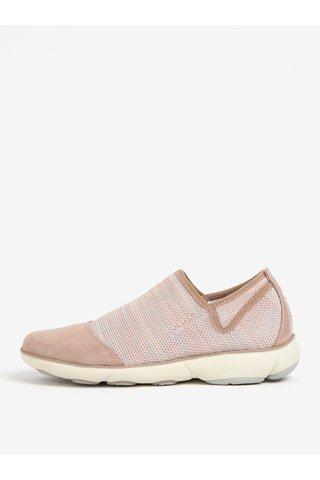 Pantofi slip-on roz prafuit cu piele intoarsa pentru femei Geox Nebula