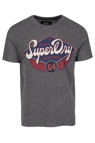 Tricou gri melanj cu print text Superdry Real