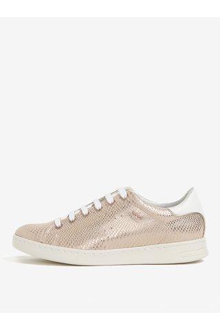 Pantofi sport roz-prafuit cu model piele de sarpe pentru femei Geox Jaysen