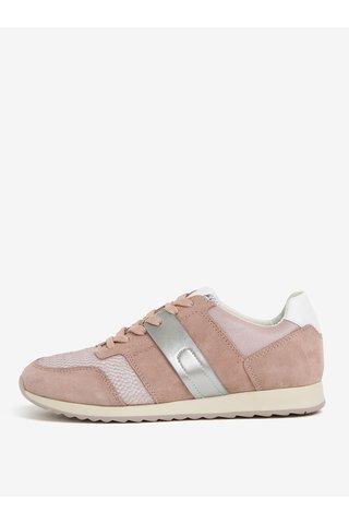 Pantofi sport roz prafuit din piele intoarsa pentru femei Geox Deynna