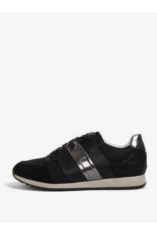 Pantofi sport negri cu animal print pentru femei Geox Deynna