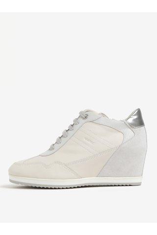 Pantofi sport crem din piele cu talpa wedge pentru femei Geox Illusion
