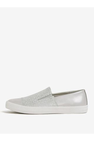 Pantofi slip-on gri deschis cu animal print pentru femei Geox Giyo