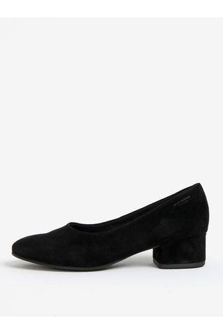 Pantofi cu toc lat negri din piele intoarsa Vagabond Jamilla