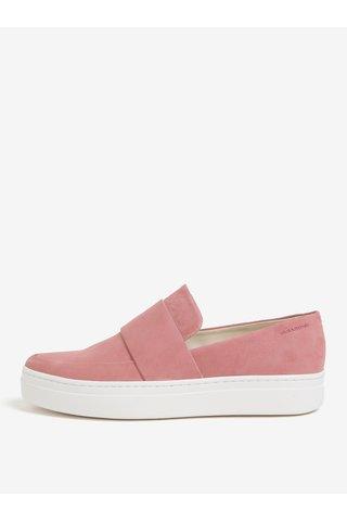 Pantofi slip-on roz din piele intoarsa cu bareta pentru femei Vagabond Camille