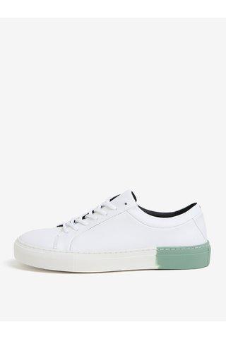 Tenisi albi din piele cu detalii verzi pentru femei - Royal RepubliQ