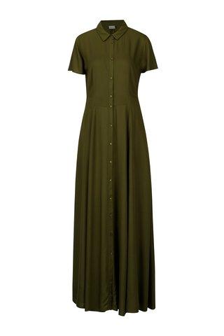 Rochie camasa maxi verde cu buzunare - VILA Dona