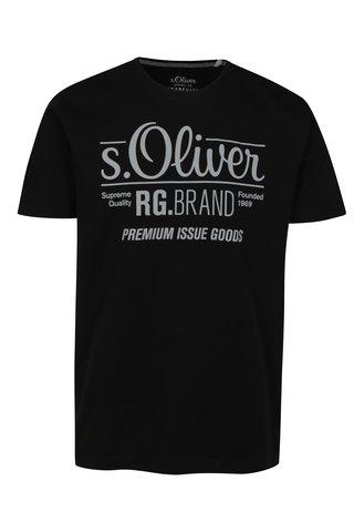 Tricou negru regular fit cu print logo pentru barbati - s.Oliver