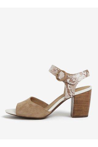 Sandale bej din piele intoarsa si aspect de piele de sarpe - Geox Eudora