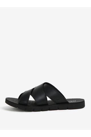 Papuci negri din piele pentru barbati - Geox Glenn