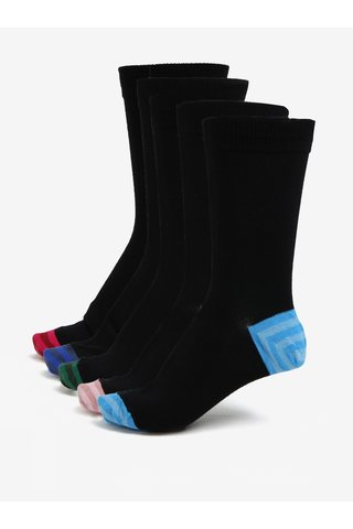 Set de cinci perechi de sosete negre cu detalii multicolore - Burton Menswear London