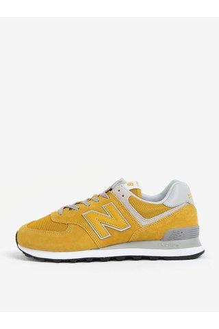 Pantofi sport galbeni din piele intoarsa si detalii din plasa pentru barbati -  New Balance ML574