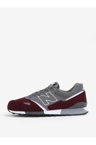 Pantofi sport din piele bordo & gri pentru barbati - New Balance U446