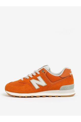 Pantofi sport oranj din piele intoarsa cu insertii din plasa pentru barbati - New Balance ML574