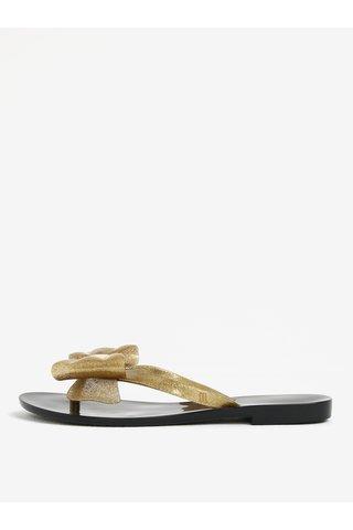 Papuci flip flop aurii cu funda si aspect stralucitor -  Melissa Harmonic