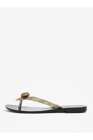 Papuci flip-flop negru & auriu cu funda si aspect metalizat - Melissa Harmonic Chrome