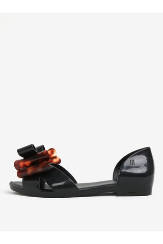 Sandale negre parfumate cu funda decorativa maro - Melissa Seduction