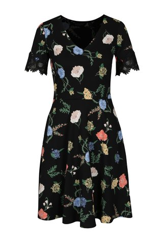 Rochie cu print floral si broderie la maneci Dorothy Perkins