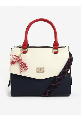 Geanta color block crem & bleumarin cu funda decorativa - Bessie London
