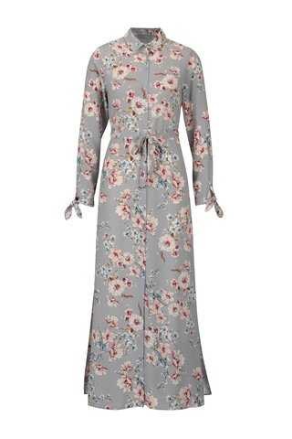 Rochie maxi gri cu print floral si cordon in talie - Dorothy Perkins Petite