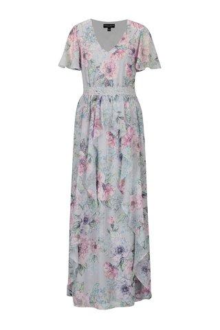 Rochie maxi cu print floral si broderie in talie Dorothy Perkins