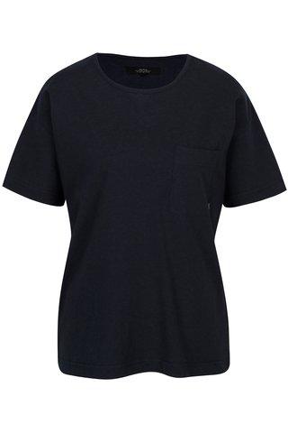 Tmavě modré dámské žíhané oversize tričko Makia