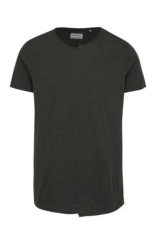 Tricou gri inchis melanj asimetric cu cusatura frontala  - Shine Original