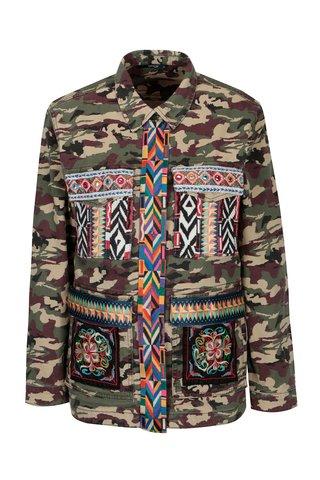 Jacheta cu print camuflaj si broderie ONLY Audrey
