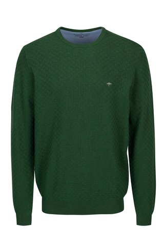 Pulover verde cu model geometric si logo brodat - Fynch-Hatton