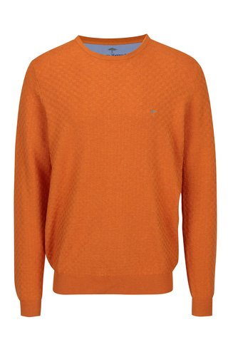 Pulover oranj cu model geometric si logo brodat - Fynch-Hatton