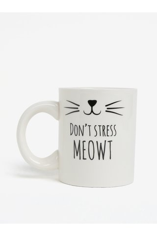 Cana alba cu print pisica si text Sass & Belle Cat´s Whiskers