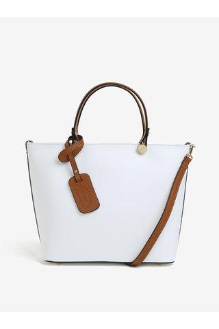 Bílá dámská kožená kabelka KARA