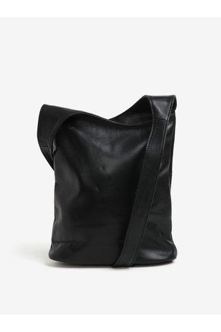 Geanta neagra din piele cu bareta groasa KARA