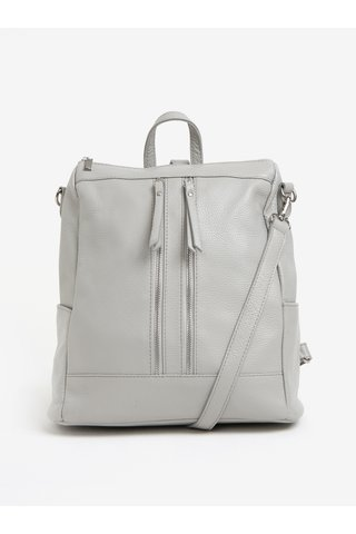 Světle šedý dámský kožený batoh KARA