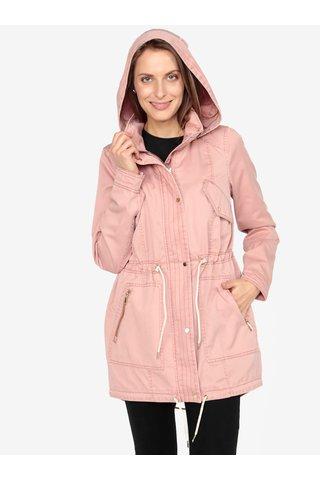 Jacheta parka roz prafuit cu gluga si buzunare - VERO MODA Eileen