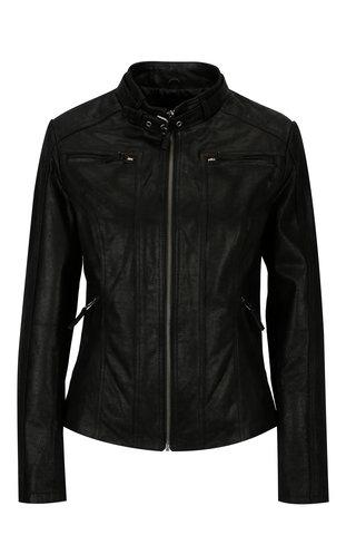 Jacheta neagra din piele cu fermoare KARA Diva