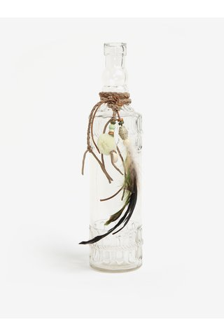 Sticla decorativa transparenta cu aplicatii si pene - Kaemingk