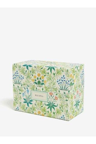 Zelený květovaný box na recepty Galison