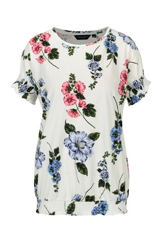 Tricou cu terminatie elastica si print floral Dorothy Perkins