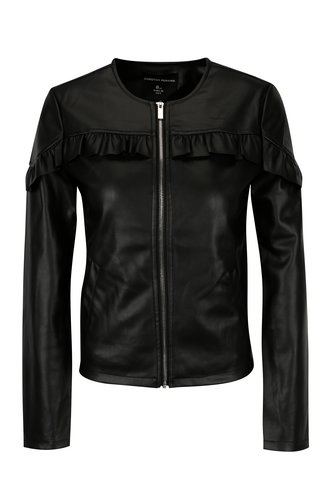 Jacheta neagra cu volane decorative din piele sintetica Dorothy Perkins