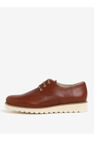 Pantofi maro din piele naturala cu platforma - OJJU