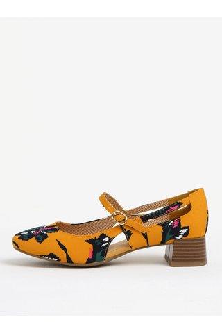 Pantofi decupati galben mustar cu print si bareta - Ruby Shoo Iris