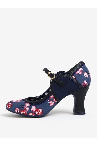 Pantofi bleumarin decupati cu print floral si bareta - Ruby Shoo Rosalind