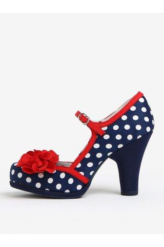 Pantofi bleumarin decupati cu print buline si toc - Ruby Shoo Hannah