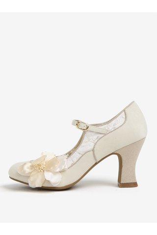 Pantofi crem cu aplicatii florale si bareta - Ruby Shoo Madelaine
