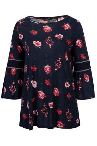 Bluza bleumarin cu print floral si maneci clopot Dorothy Perkins Curve