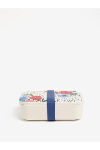 Krémová bambusová krabička na svačinu s motivem květin Cath Kidston