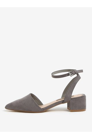 Sandale gri cu varf ascutit si toc mic - Dorothy Perkins
